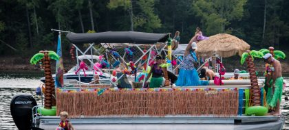 Luau at the Lake Decorated Boat
